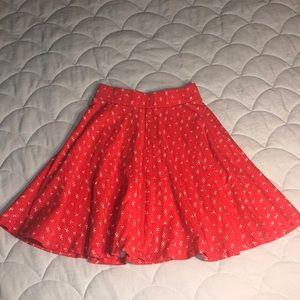 Red and white skater skirt